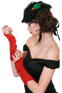 Handschuhe Gerafft Satin lang rot Gatsby Charleston 20er Fasching Karneval KK