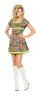 Hippie-Kleid Hippie-kostüm Flower Power 60er 70er Jahre neon Damen-Kostüm KK