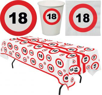Party Set 33 Teile Geburtstag 18 Jahre Verkehrsschild - Vorschau