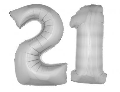 Folienballons Luftballon-SetXXL Zahl Geburtstag 21 Jahre silber Party Dekoration