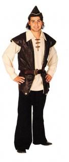 Robin Hood Kostüm Herren König der Diebe Mittelalter Hemd Weste Hut Fasching KK