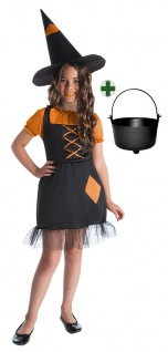 süßes Hexenkostüm Kinder Mädchen Hexenkleid schwarz orange HexenhutHexenkessel