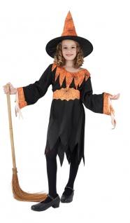 Hexenkostüm für Kinder Hexe Mädchen Kostüm orange schwarz Halloween Hexenhut KK