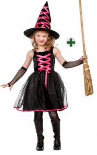 Hexenkostüm Kinder Hexe pink schwarz mit Hexenhut und Hexenbesen Halloween Hexe