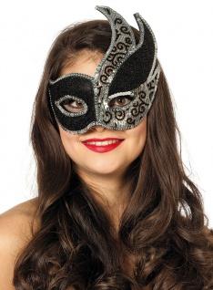 Venezianische AUGENMASKE schwarz weiß Karneval Maske Märchen 1621