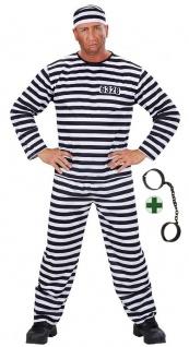 Sträfling Kostüm Herren Gefangener Haftling mit Handschellen Mütze Herrenkostüm