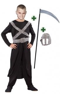 Sensenmann Kostüm Horror mit Sense Kinderkostüm Halloween Der Tod Jungen KK
