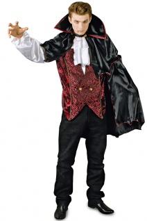 Vampir Kostüm Herren Hemd Weste und Umhang Dracula KK