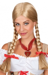 Zopf Perücke Oktoberfest Dirndl Heidi Bayern blond Damen INKL Halskette KK