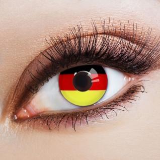 Jahreslinsen WM Deutschland Fan-Artikel Farbige Kontaktlinsen schwarz rot gold K