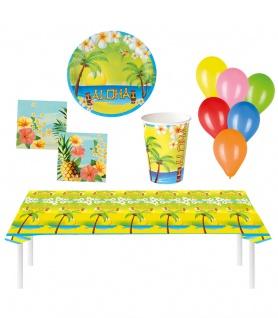Party Set XXL Hawaii Sommer Aloha 49 Teile Teller, Becher, Servietten, Geschirr