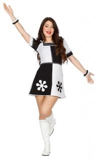 60er 70er Jahre Kostüm Damen schwarz weiß Retro Pop Disco Damenkostüm Fasching K
