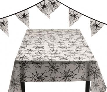 Tischdeko Raumdeko Halloween Spinnennetz 4 Teile : Tischdecke, Wimpelkette, Korb