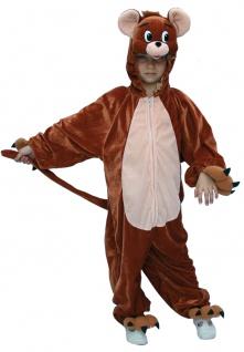 Maus Kostüm Kinder braun Plüsch Tom und Jerry Overall Kapuze Tierkostüm Fasching