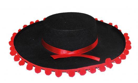 Karneval Klamotten Kostüm Spanier Hut mit Bömmel Zubehör Spanien Karneval