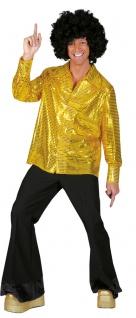 Pailletten-Hemd Disco-Hemd Schlagerhemd 80er Jahre Hemd gold Herren-hemd KK