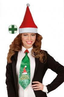 Krawatte Weihnachten Weihnachts-Krawatte glitzer Weihnachtsmannmütze KK