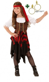 Pirat Kostüm Kinder Piratenkostüm Mädchen Piratenbraut mit Piraten Ohrringe KK