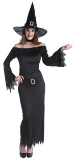 Hexen-kostüm-e Damen schwarz lang sexy Hexenkleid Gothic Halloween-Kostüm KK