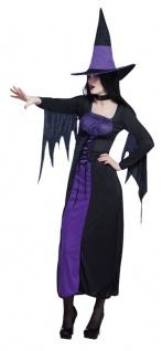 Hexenkostüm-e Damen mit Hexenhut Lila schwarz Halloween Kleid Hexe KK