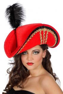Piraten-Hut Damen rot mit Gold-Borde Dreispitz Gothic Piratin Fasching Karneval