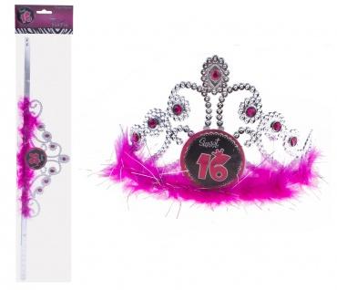 Krone Geburtstag Sweet 16 Jahre silber schwarz-pink Glitter Diadem Mädchen