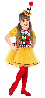 Clown Kostüm Kinder Kleinkind Tutu Clownhut Mädchen-Kostüm Fasching Karneval KK