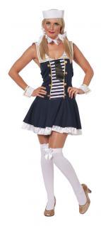 Matrosen Kostüm Damen Matrosin Marine blau weiß Manschetten Damenkostüm Karneval