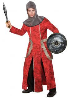 Kostüm Ritter Herren Ritterkostüm Mittelalter Herrenkostüm Gewand rot-schwarz KK