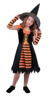 Kinder Hexe Hexenkostüm Mädchen Kostüm orange schwarz Halloween Hexenhut KK
