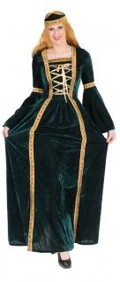Burgfräulein Kostüm Damen Mittelalter Magd Burgfrau Damenkostüm Samt grün gold K