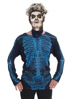 Skelett T-Shirt und Maske Erwachsene 3D Skelett Herren-Kostüm Halloween KK