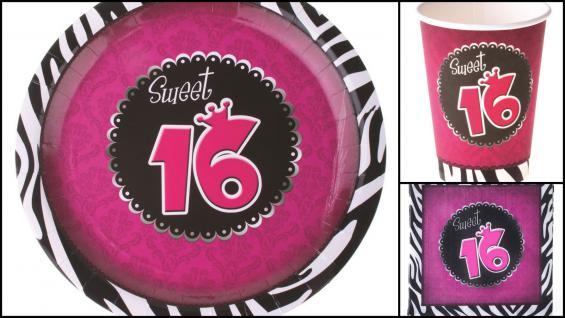 36 Teile Set 16 Jahre Geburtstag Sweet 16 pink schwarz