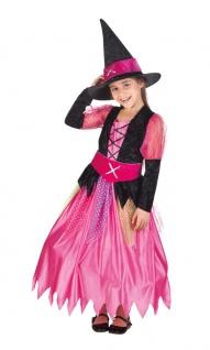 Hexenkostüm Hexe Kinder Mädchen Kostüm lang pink Halloween Hexenhut KK