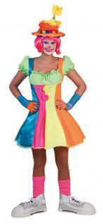 Karneval Klamotten Kostüm Sexy Clown neon Dame Karneval Damenkostüm