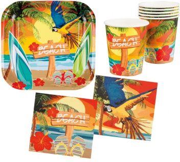 Sommer Party Deko Set Hawaii Beach Ara 24 Teile: Teller, Becher, Servietten