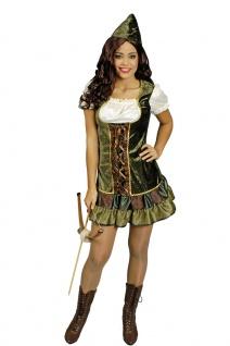 Robin Hood Kostüm Damen sexy Mittelalter Kleid Hut Jägerin Fasching Karneval KK
