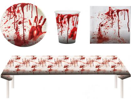 Blutiges Party Set Halloween Horror Blut 37 Teile Teller, Becher, Servietten