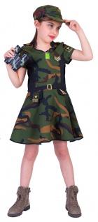 Soldaten Kostüm Soldat Kinder-Kostüm Mädchen Soldatin Armee Militär Fasching KK