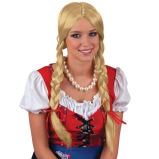 Zopf Perücke Oktoberfest Dirndl Heidi Bayern blond Damen Karneval KK