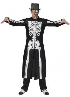 Herren Skelett-Kostüm Horror-Mantel Der Tod Halloween Fasching Karneval KK