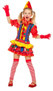 Clown Kostüm Mädchen buntes Clown-Kleid Harlekin Zirkus Kinder-Kostüm Fasching K