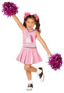 Karneval Klamotten Kostüm Cheerleader Mädchen mit Pompons Karneval Mädchenkostüm