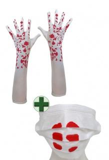 Mundschutz Blut und Handschuhe blutig Zombie Horror Halloween KK