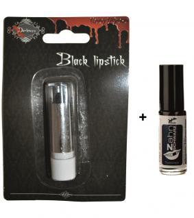 Lippenstift schwarz INKL. Zahnschwarz Hexe Halloween KK