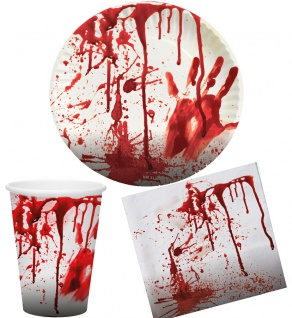 Halloween Tischdeko Blut-iges Party Set Horror 36 Teile Teller Becher Servietten
