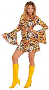Hippie Kostum Damen 70er Jahre Damen-Kostüm Retro Kostüm bunt Karneval KK