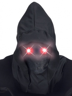 Sensenmann Maske mit Kapuze unsichtbares Gesicht leuchtende Augen rot Halloween