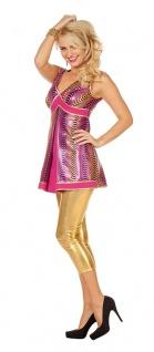 Disco Queen Diva Kostüm Damen sexy Discokleid pink 70er Damenkostüm Karneval KK