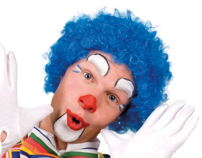 Karneval Klamotten Kostüm Perücke Clown Locken blau Zubehör Zirkus Karneval